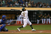 OAKLAND, CA - AUGUST 14:  Khris Davis #2 of the Oakland Athletics bats against the Kansas City Royals during the game at the Oakland Coliseum on Monday, August 14, 2017 in Oakland, California. (Photo by Brad Mangin)