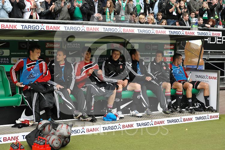 30.10.2010, Weserstadion, Bremen, GER, 1. FBL, Werder Bremen vs 1. FC Nürnberg / Nuernberg, im Bild Die Auswechselspieler des 1. FC Nuernberg   Foto © nph / Frisch