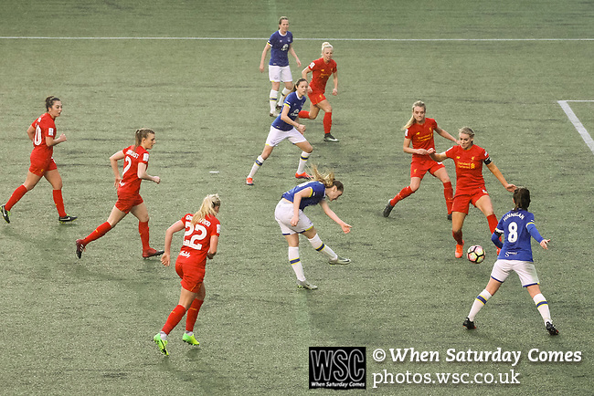 Liverpool Ladies 2 Everton Ladies 1, 19/03/2017. Select Security Stadium, SSE FA Cup Fifth Round. Everton press for a second equaliser in extra time during the game between Liverpool Ladies v Everton Ladies at The Select Security Stadium, Widnes, in the Women's SSE FA Cup Fifth Round. Photo by Paul Thompson.