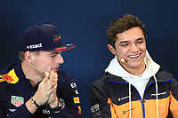 31st October 2019; Circuit of the Americas, Austin, Texas, United States of America; F1 United States Grand Prix, team arrival day; McLaren, Lando Norris chats with Aston Martin Red Bull Racing, Max Verstappen - Editorial Use