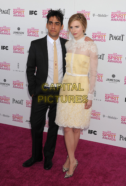 Zal Batmanglij, Brit Marling.2013 Film Independent Spirit Awards - Arrivals Held At Santa Monica Beach, Santa Monica, California, USA,.23rd February 2013..indy indie indies indys full length black shirt suit  white lace shirt dress yellow sheer .CAP/ROT/TM.©Tony Michaels/Roth Stock/Capital Pictures