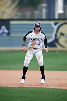 UCF Knights left fielder Tyler Osik (3) leads off during a game against the Siena Saints on February 17, 2019 at John Euliano Park in Orlando, Florida.  UCF defeated Siena 7-1.  (Mike Janes/Four Seam Images)