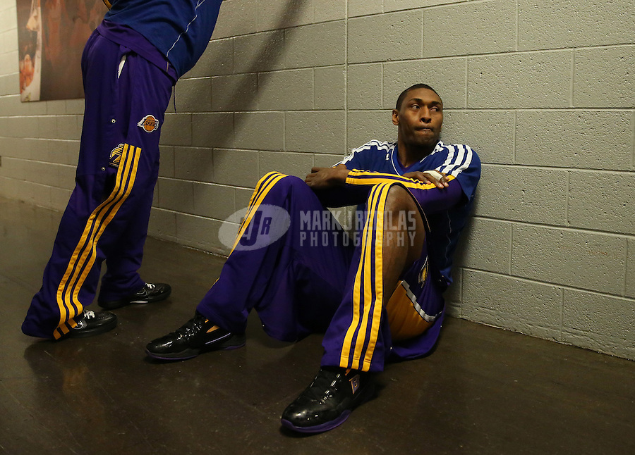 Jan. 30, 2013; Phoenix, AZ, USA: Los Angeles Lakers forward Metta World Peace prior to the game against the Phoenix Suns at the US Airways Center. Mandatory Credit: Mark J. Rebilas-