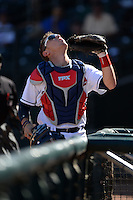 Peoria Javelinas catcher Jake Lowery (35), of the Cleveland Indians organization, during an Arizona Fall League game against the Mesa Solar Sox on October 16, 2013 at Surprise Stadium in Surprise, Arizona.  Mesa defeated Peoria 3-1.  (Mike Janes/Four Seam Images)