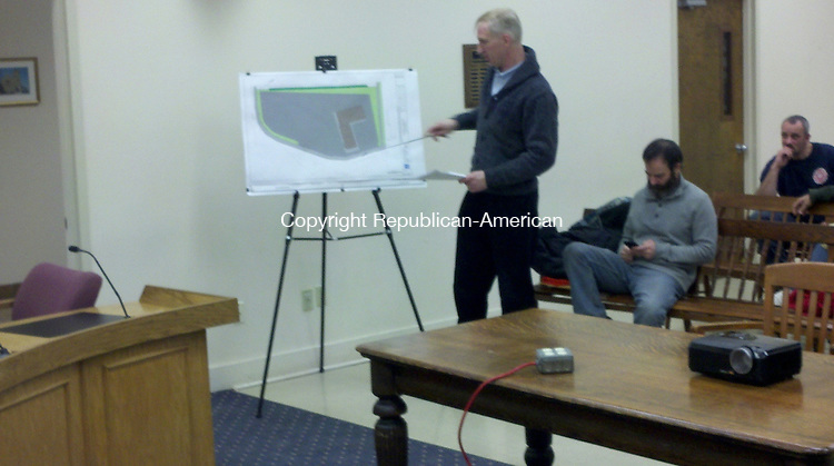 WINSTED, CT - 27 Jan. 2014 - 012714KM01 - Todd Parsons of Lenard Engineering describes thie plans for a new Dunkin' Donuts at 760 Main St. in Winsted before the Winsted Planning and Zoning Commission Monday night. Kurt Moffett Republican-American