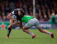 Exeter Chiefs' Phil Dollman is tackled by Harlequins' Alofa Alofa<br /> <br /> Photographer Bob Bradford/CameraSport<br /> <br /> Gallagher Premiership - Exeter Chiefs v Harlequins - Saturday 27th April 2019 - Sandy Park - Exeter<br /> <br /> World Copyright © 2019 CameraSport. All rights reserved. 43 Linden Ave. Countesthorpe. Leicester. England. LE8 5PG - Tel: +44 (0) 116 277 4147 - admin@camerasport.com - www.camerasport.com