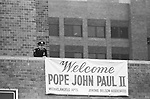 Awaiting the arrival of, Pope John Paul II, in an East Bronx neighborhood in the Borough of the Bronx, New York City, NY on October 2, 1979. Photo by Jim Peppler. Copyright/Jim Peppler/1979