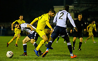 Fleetwood Town's Ched Evans vies for possession with Guiseley's Alex Purver and Cliff Moyo<br /> <br /> Photographer Alex Dodd/CameraSport<br /> <br /> The Emirates FA Cup Second Round - Guiseley v Fleetwood Town - Monday 3rd December 2018 - Nethermoor Park - Guiseley<br />  <br /> World Copyright © 2018 CameraSport. All rights reserved. 43 Linden Ave. Countesthorpe. Leicester. England. LE8 5PG - Tel: +44 (0) 116 277 4147 - admin@camerasport.com - www.camerasport.com