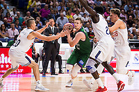 Real Madrid's player /rm20, Othello Hunter and Luka Doncic and Unicaja Malaga's player Adam Waczynski during match of Liga Endesa at Barclaycard Center in Madrid. September 30, Spain. 2016. (ALTERPHOTOS/BorjaB.Hojas) /NORTEPHOTO