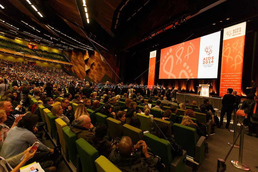 Delegates take their seat at the opening session of the 20th International AIDS Conference (AIDS 2014) at The Melbourne Convention and Exhibition Centre.<br /> For licensing of this image please go to http://demotix.com