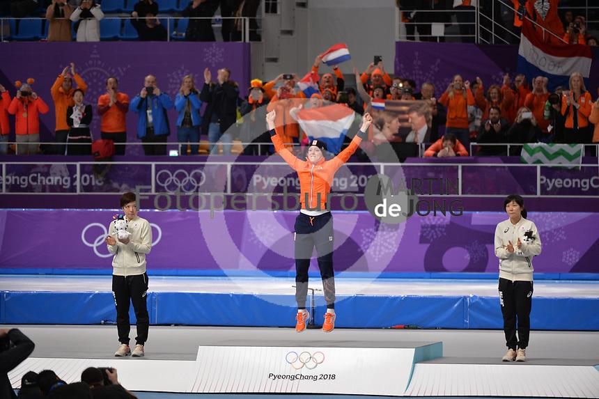 OLYMPIC GAMES: PYEONGCHANG: 14-02-2018, Gangneung Oval, Long Track, 1000m Ladies, Final result, Nao Kodaira (JPN), Jorien ter Mors (NED), Miho Takagi (JPN), ©photo Martin de Jong