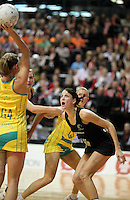 01.09.2010 Silver Ferns Anna Scarlett in action during the Silver Ferns v Australia New World netball test match in Wellington. Mandatory Photo Credit ©Michael Bradley.