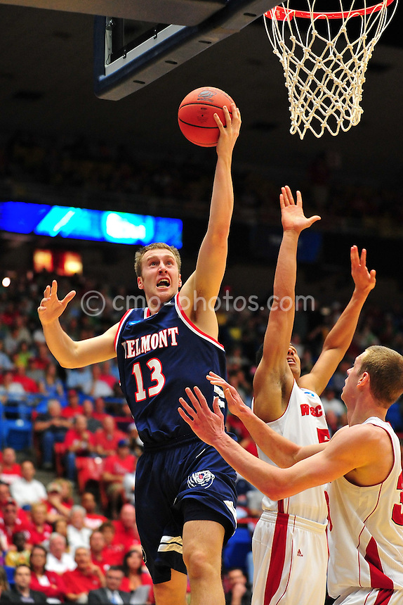 Mar 17, 2011; Tucson, AZ, USA; Belmont Bruins guard Jon House (13) shoots the ball in the first half of a game against the Wisconsin Badgers in the second round of the 2011 NCAA men's basketball tournament at the McKale Center.