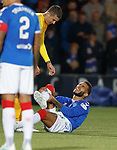 25.09.2018 Livingston v Rangers: Connor Goldson caught late by Lyndon Dykes
