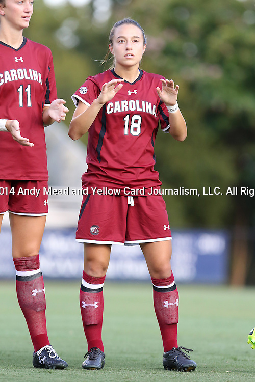 14 August 2014: South Carolina's Stevi Parker. The Duke University Blue Devils hosted the University of South Carolina Gamecocks at Koskinen Stadium in Durham, NC in a 2014 NCAA Division I Women's Soccer preseason match. Duke won the exhibition 2-0.