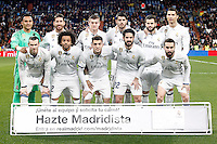Real Madrid's team photo with Keylor Navas, Sergio Ramos, Toni Kroos, Alvaro Morata, Nacho Fernandez, Cristiano Ronaldo, Gareth Bale, Marcelo Vieira, Mateo Kovacic, Isco Alarcon and Daniel Carvajal during La Liga match. March 1,2017. (ALTERPHOTOS/Acero) /NORTEPHOTOmex