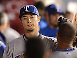 Yu Darvish (Rangers),<br /> AUGUST 6, 2013 - MLB :<br /> Yu Darvish of the Texas Rangers high-fives his teammate in the dugout during the Major League Baseball game against the Los Angeles Angels at Angel Stadium in Anaheim, California, United States. (Photo by AFLO)