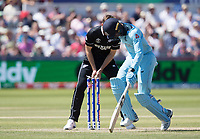 Tim Southee removes the bails but Jofra Archer (England) is well home during England vs New Zealand, ICC World Cup Cricket at The Riverside Ground on 3rd July 2019