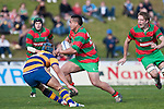 Rawiri Garmonsway wrong foots Tekori Luteru as he charges upfield. Counties Manukau Premier Club Rugby final between Patumahoe & Waiuku played at Bayers Growers Stadium Pukekohe on Saturday August 8th 2009. Patumahoe won 11 - 9 after leading 11 - 6 at halftime.