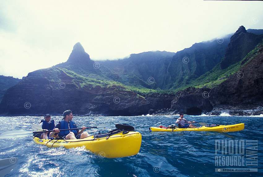 Kayak paddling on Kauai's Na Pali Coast