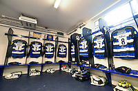A general view of the Bath Rugby forwards' jerseys hung up in the changing rooms. Aviva Premiership match, between Bath Rugby and Exeter Chiefs on October 17, 2015 at the Recreation Ground in Bath, England. Photo by: Patrick Khachfe / Onside Images