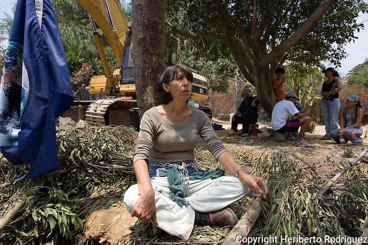 Environmentalist Flora Guerrero, chained to a tree, protests against the destruction of an ecosystem in a ravine of Cuernavaca city in the southern state of Morelos, April 10, 2006. Guerrero and members of The Other Campaign, along with the Delegado Zero, the Zapatista leader Subcommander Marcos, joined to the struggle and defend the ecosystem, where the state government tries to construct an avenue. Photo by Heriberto Rodriguez
