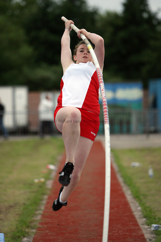 Photo: Rich Eaton...Schools International Athletic Board, Track & Field International Match, Newport. 21/07/2007. Sophie Upton of England competes in the girls pole vault.