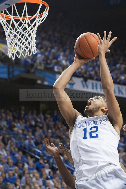 Center Karl-Anthony Towns of the Kentucky Wildcats shoots during the game against the Auburn Tigers at Rupp Arena on Saturday, February 21, 2015 in Lexington, Ky. Kentucky defeated Auburn 110-75. Photo by Michael M Reaves | Staff.