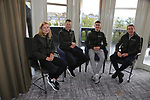 Alice Sharpe, Sam Bennett, Eddie Dunbar and Dan Martin (IRL) at the Cycling Ireland press conference during the Men U23 Road Race of the UCI World Championships 2019 running 186.9km from Doncaster to Harrogate, England. 27th September 2019.<br /> Picture: Eoin Clarke | Cyclefile<br /> <br /> All photos usage must carry mandatory copyright credit (© Cyclefile | Eoin Clarke)