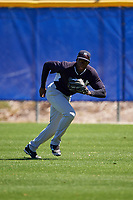 New York Yankees Estevan Florial (98) during practice before a minor league Spring Training game against the Toronto Blue Jays on March 22, 2016 at Englebert Complex in Dunedin, Florida.  (Mike Janes/Four Seam Images)
