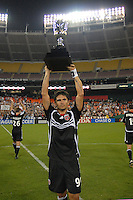 DC United forward Jaime Moreno (99) hold the Atlantic Cup Trophy after the victory. DC United defeated The New York Red Bulls 3-1 at RFK Stadium in Washington DC, Thursday August  22, 2007.