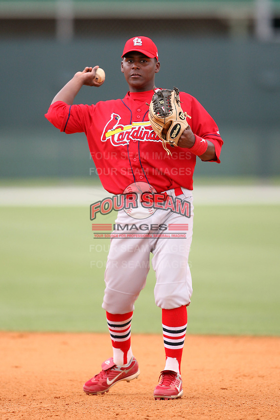 April 14, 2009:  Second Baseman Juan Mosquera of the St. Louis Cardinals extended spring training team during a game at Roger Dean Stadium Training Complex in Jupiter, FL.  Photo by:  Mike Janes/Four Seam Images