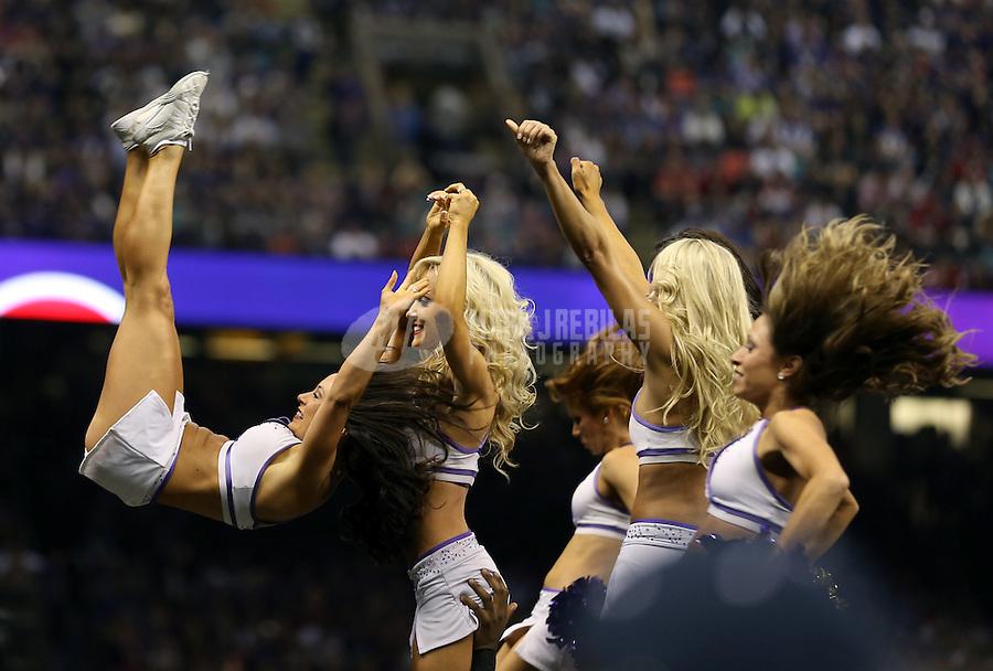 Feb 3, 2013; New Orleans, LA, USA; Baltimore Ravens cheerleaders perform acrobatics in Super Bowl XLVII against the San Francisco 49ers at the Mercedes-Benz Superdome. Mandatory Credit: Mark J. Rebilas-