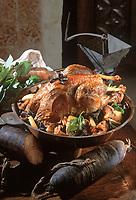 """Europe/France/Normandie/14/Calvados/Caen: Pintade Fermière à l'andouille de Vire recette de Robert Chabredier Chef du restaurant """"Le Dauphin"""""""