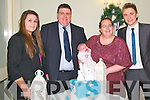 Baby Mikey Dee with his parents Laura & John Dee, Liselton & godparents Lauren Goggin & Paul Higginbotham who was christened at Ballydonoghue Church by Fr. John Lawlor on Sunday last and afterwards at the Listowel Arms Hotel.