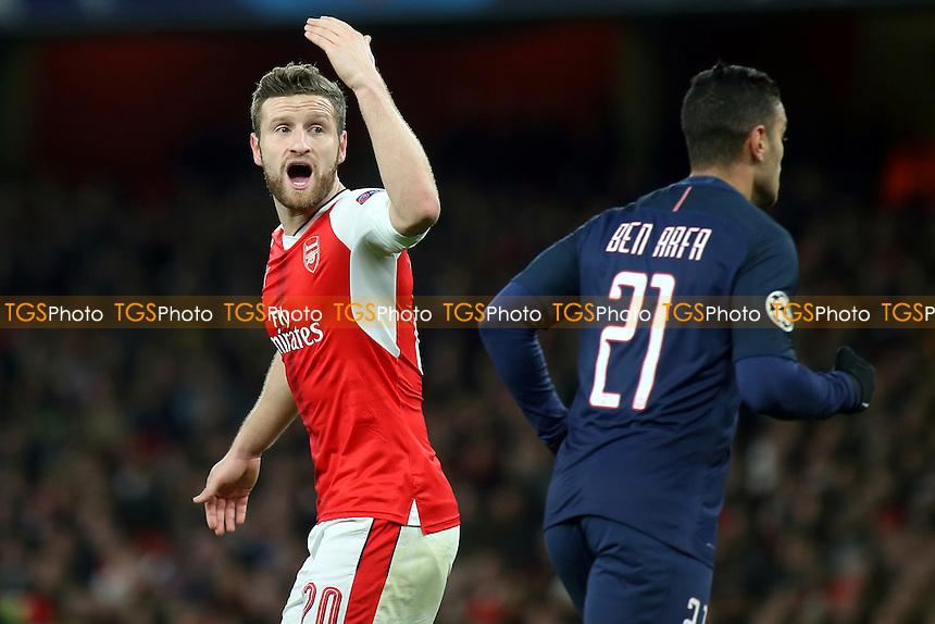 Arsenal's Shkodran Mustafi reacts after Paris St Germain score their second goal during Arsenal vs Paris St Germain, UEFA Champions League Football at the Emirates Stadium on 23rd November 2016
