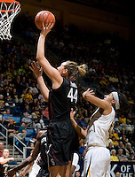 Berkeley, CA - March 4th, 2012: Joslyn Tinkle of Stanford shoots the ball during a basketball game against California in Berkeley, California.   Stanford won, 86-61.