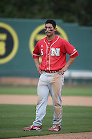 Steven Reveles (5) of the Nebraska Cornhuskers during a game against the Long Beach State Dirtbags in the first game of a doubleheader at Blair Field on March 5, 2016 in Long Beach, California. Long Beach State defeated Nebraska, 1-0. (Larry Goren/Four Seam Images)