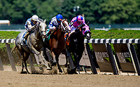 ELMONT, NY - JUNE 09: Prince Lucky  #5, ridden by John Velazquez, gets the bob over #3 Rugybman in the Easygoer Stakes on Belmont Stakes Day at Belmont Park on June 9, 2018 in Elmont, New York. (Photo by Carson Dennis/Eclipse Sportswire/Getty Images)