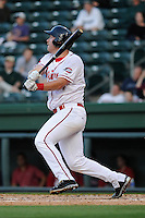 Infielder David Chester (44) of the Greenville Drive bats in a game against the Delmarva Shorebirds on Monday, April 29, 2013, at Fluor Field at the West End in Greenville, South Carolina. Greenville won, 3-1 in game two of a doubleheader. (Tom Priddy/Four Seam Images)