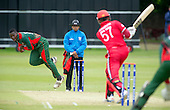 ICC World T20 Qualifier - GROUP B MATCH - CANADA V KENYA at Watsonians CC, Edinburgh - Kenya bowler Lucas Ndandason bowling — credit @ICC/Donald MacLeod - 10.07.15 - 07702 319 738 -clanmacleod@btinternet.com - www.donald-macleod.com