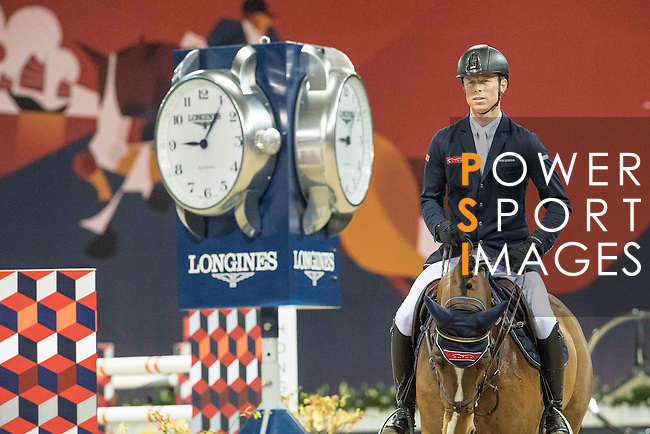 Max Kuhner of Austria riding Electric Touch competes during the Longines Speed Challenge, part of the Longines Masters of Hong Kong on 11 February 2017 at the Asia World Expo in Hong Kong, China. Photo by Victor Fraile / Power Sport Images