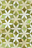 Fiona, a waterjet mosaic shown in Peridot and Quartz jewel glass, is part of the Silk Road collection by Sara Baldwin for New Ravenna.
