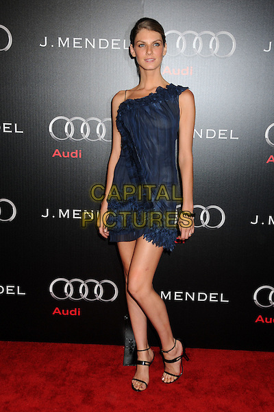 ANGELA LINDVALL.Audi and J. Mendel Celebrate the 2011 Golden Globe Awards held at Cecconi's, Los Angeles, California, USA..January 9th, 2011.full length blue one shoulder frills ruffle dress sheer .CAP/ADM/BP.©Byron Purvis/AdMedia/Capital Pictures.