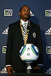14 January 2010: Danny Mwanga (center) was selected with the #1 overall pick by the Philadelphia Union. The 2010 MLS SuperDraft was held in the Ballroom at Pennsylvania Convention Center in Philadelphia, PA during the NSCAA Annual Convention.