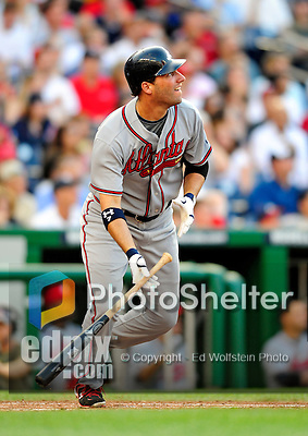 3 July 2009: Atlanta Braves right fielder Jeff Francoeur in action against the Washington Nationals at Nationals Park in Washington, DC. The Braves defeated the Nationals 9-8 to take the first game of the 3-game weekend series. Mandatory Credit: Ed Wolfstein Photo