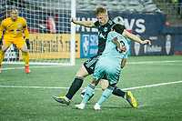 Foxborough, Massachusetts - April 20, 2019:   The New England Revolution (light blue) beat the New York Red Bulls (dark blue)  1-0 in a Major League Soccer (MLS) match at Gillette Stadium.