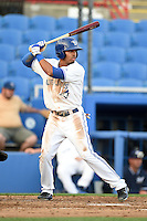 Dunedin Blue Jays  outfielder Dalton Pompey (23) at bat during a game against the Brevard County Manatees on April 11, 2014 at Florida Auto Exchange Stadium in Dunedin, Florida.  Brevard County defeated Dunedin 5-2.  (Mike Janes/Four Seam Images)