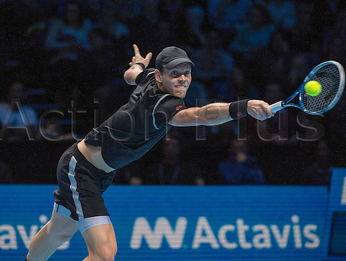 08.11.2013 London, England.  Tomas Berdych [CZE] in action against Rafael Nadal [ESP] on day 5 of The ATP World Tour Finals 2013, Tennis Tournament at the O2 Arena London. Rafael Nadal [ESP] won the match, 6-4, 1-6, 6-3.