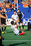 The Hague, Netherlands, June 01: Seongkyu Kim #22 of Korea celebrates after scoring to tie the game at 1:1 during the field hockey group match (Men - Group B) between the Black Sticks of New Zealand and Korea on June 1, 2014 during the World Cup 2014 at GreenFields Stadium in The Hague, Netherlands. Final score 2:1 (1:0) (Photo by Dirk Markgraf / www.265-images.com) *** Local caption ***
